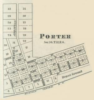 Plat map of downtown porter from 1876